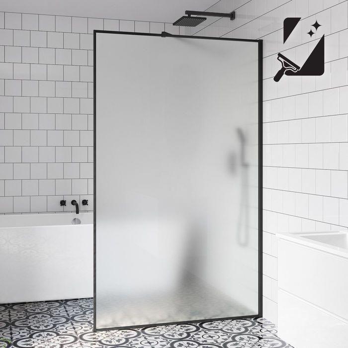 10mm Black Frame Frosted Glass Shower Screen 1200mm Whitetiledbathroom In 2020 Glass Shower Panels Glass Shower Shower Panels