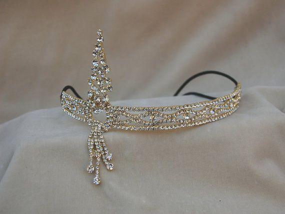 Art-Deco Gold Strass Stirnband / Strass Gold HeadPiece / Deco Hochzeitssuite Stirnband / Gatsby inspiriert elastischen Stirnband