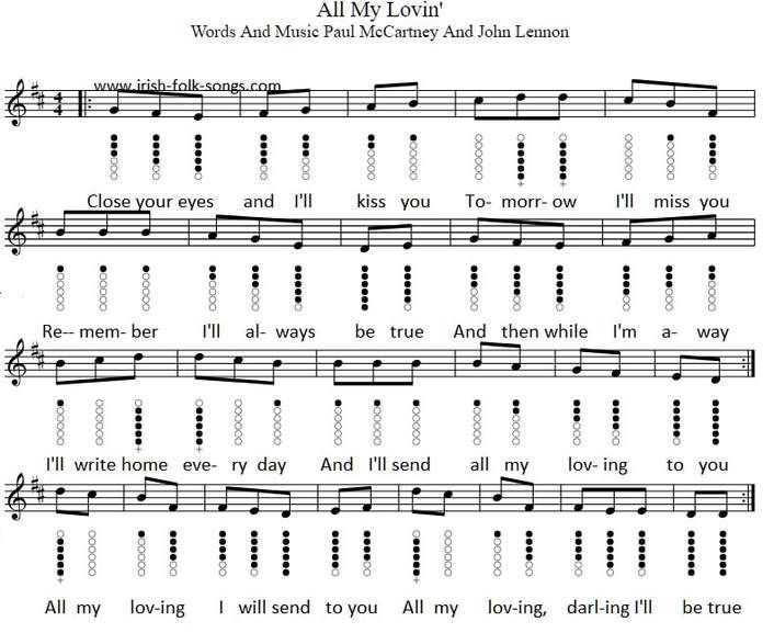 All My Loving Tin Whistle Sheet Music Notes By The Beatles With
