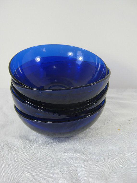 Vintage Cobalt Bowl Blue Glass Soup Cereal Dessert Set 6 By Lavendergardencottag Cobalt Blue
