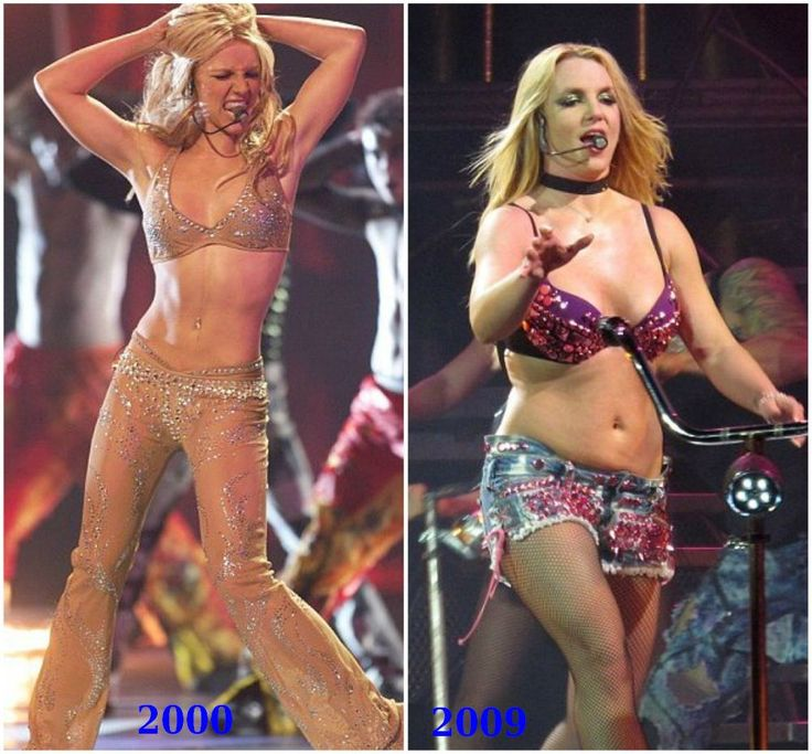 Britney Spears gained weight from 2000 to 2009