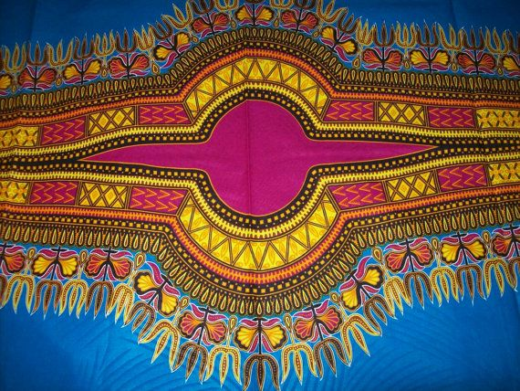 Turquoise Blue dashiki fabric wholesale 6 by tambocollection
