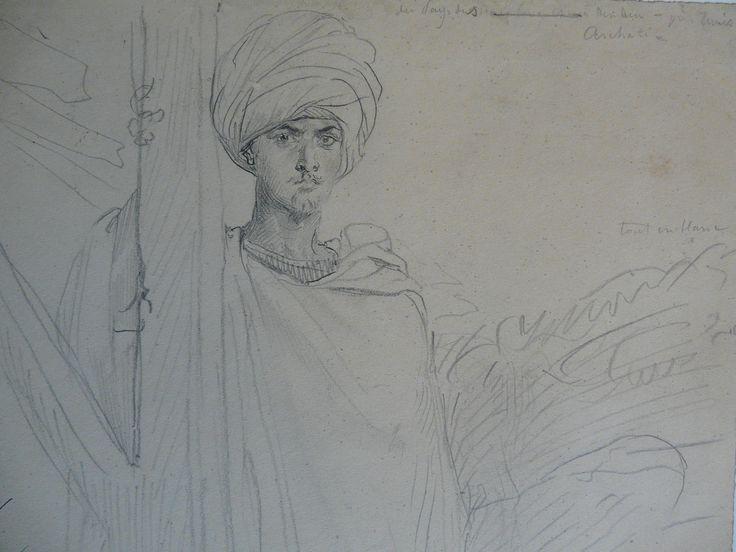 CHASSERIAU Théodore,1846 - Arabe coiffé d'un Turban, debout contre un Arbre - drawing - Détail 01