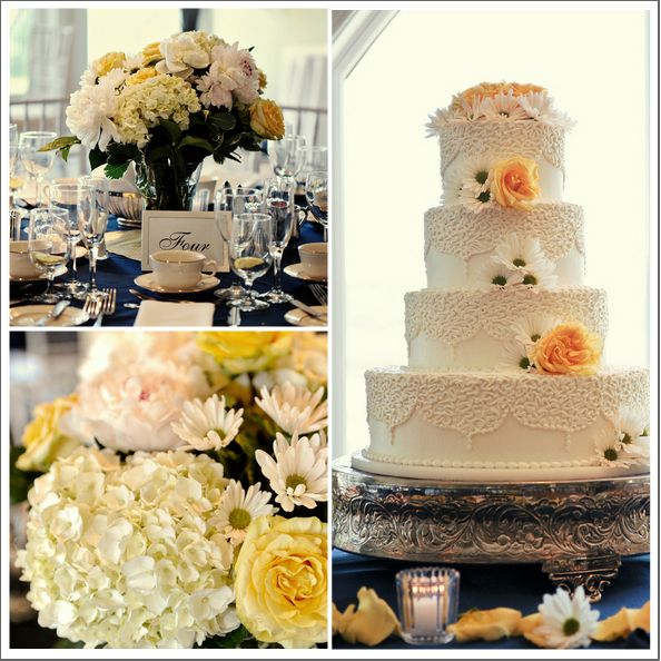 Real Wedding: Nautical New England Wedding- yellow flowers and cake decorations