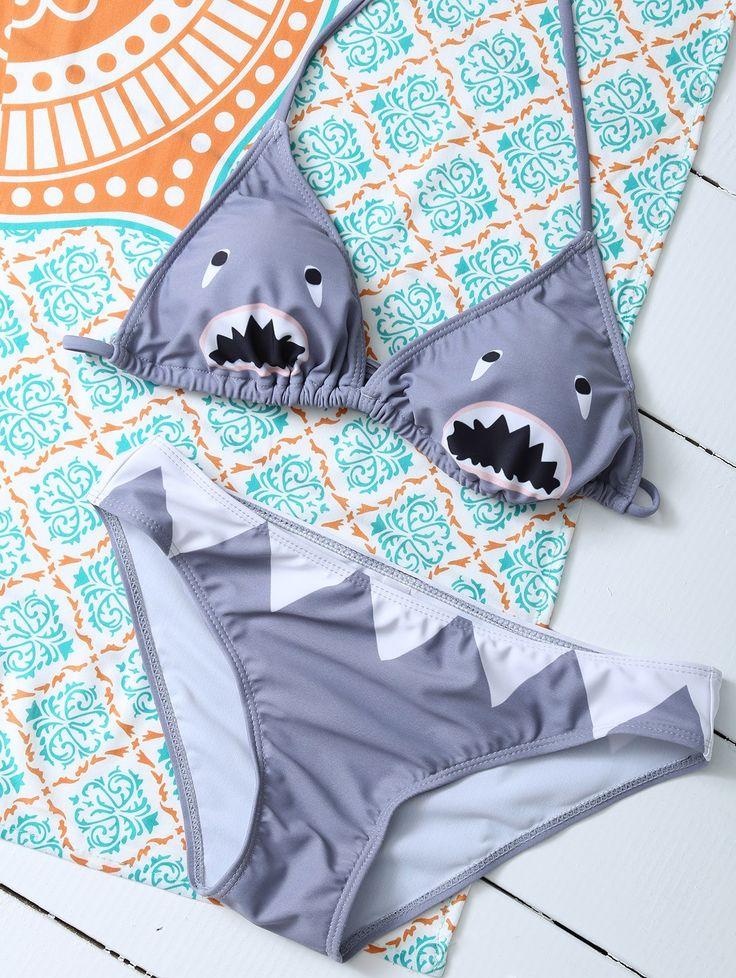 $13.99 Cartoon Shark Pattern Halter Bikini - GRAY M