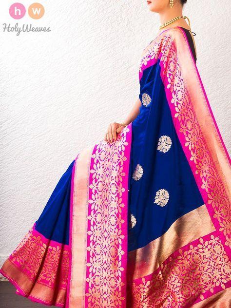 Blue Handwoven Katan Silk Kadhuan Brocade Saree