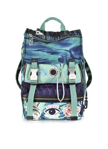 Kenzo Green Multi Logo Backpack