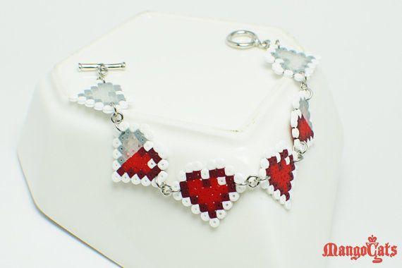 Zelda hearts bracelet made with mini hama beads by MangoCats, $12.00