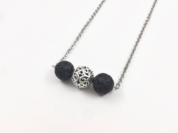 Excited to share the latest addition to my #etsy shop: Lava Bar Essential Oil Diffuser Necklace, Dainty Oil Bead Diffusing Necklace, Silver Ball Lava Stone Diffuser Necklace