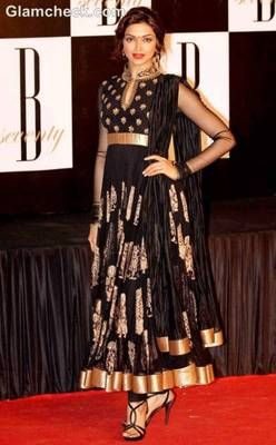 Deepika in black anakali suit at amitabh bachchan's 70th birthday