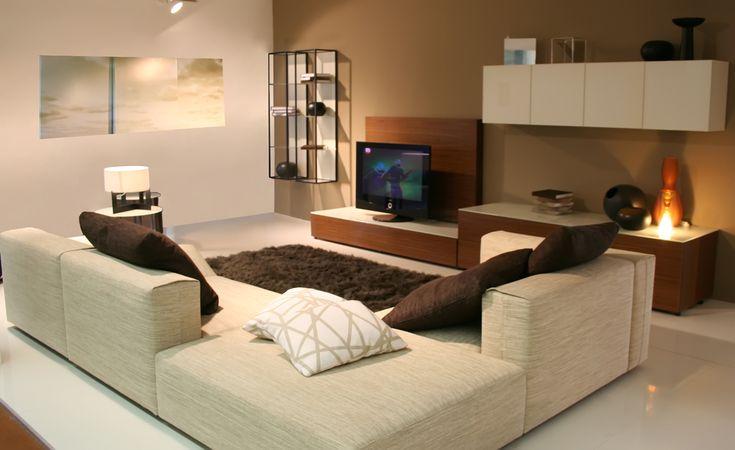 Este salón es muy grande. Hay un sofá de color gris, muy cómodo. Sobre el sofà hay cinco suaves almohadas , tres de los cuales son de color marrón, incluso la alfombra en el suelo es de color marrón. El salón es muy moderno, la decoración es casi todo en blanco. Hay también  una tele color negro.