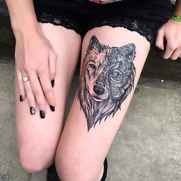 Cool Wolf Mandala Thigh Tattoo Design for Women
