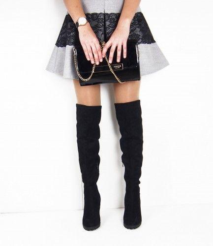 Czarne kozaki na słupku OVER KNEE Albero - buty dla Ciebie