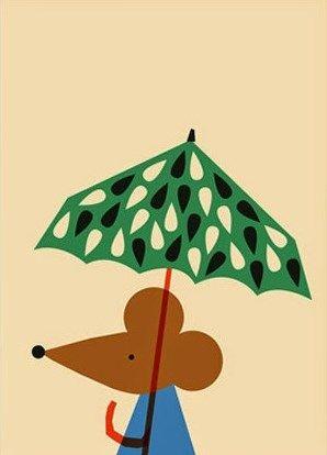 Simplistiskt designmotiv Anna Kövecses: Mus med paraply