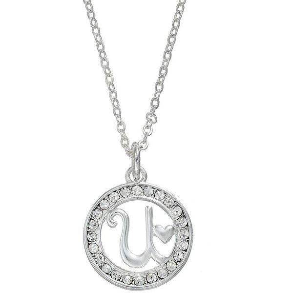 Crystal Initial Pendant Necklace ($24) ❤ liked on Polyvore featuring jewelry, necklaces, white, initial pendant necklace, crystal heart pendant, initial charm necklace, crystal heart necklace and crystal necklace pendant