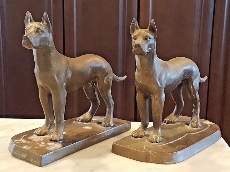 FRANKART Signed Great Dane Bronze Bookends Pair Art Deco 1924-35 Pit Bull Boxer #ArtDeco