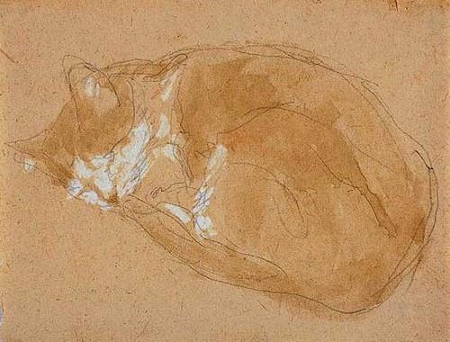 Gwen John - Cat Sleeping -  Pencil and watercolour  4½ x 6¼ ins