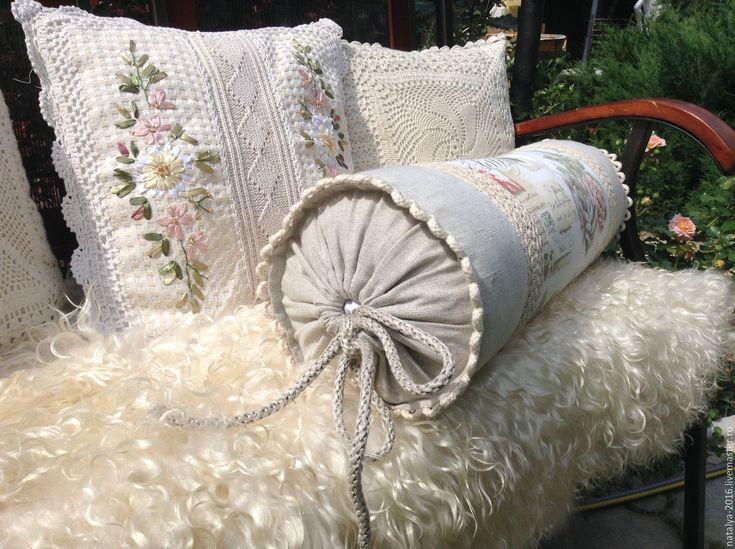 Купить Подушка валик в стиле прованс - комбинированный, комфорт, подушка на…