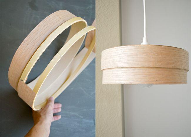 DIY Veneer Lamp, wooden hoops with glued wood veneer strips