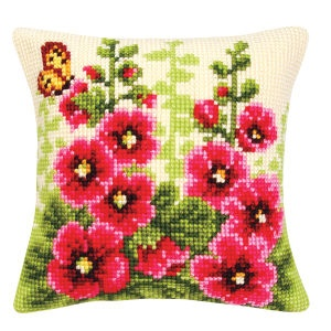 Hollyhocks Pillow Top - Cross Stitch, Needlepoint, Stitchery, and Embroidery Kits, Projects, and Needlecraft Tools | Stitchery