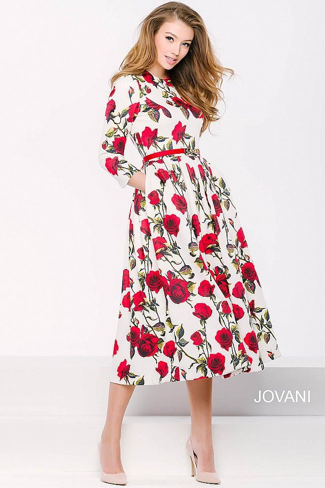 Rose Below The Knee Dress 39381