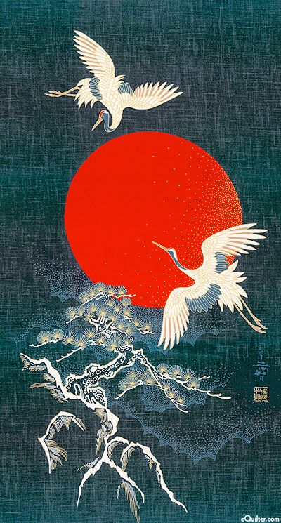 Sunset Cranes & Tree - Noren Panel - Indigo/Gold