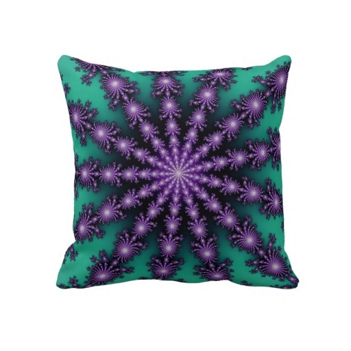 Purple Green Throw Pillow : Purple and Green Fractal Star Throw Pillow Green, Purple and Stars