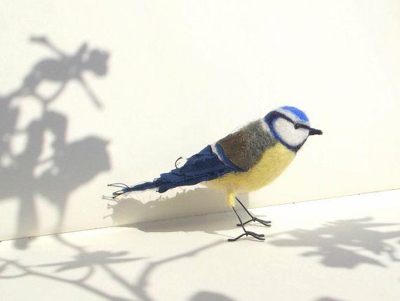 Textile bird - Blue tit on Etsy, £46.24