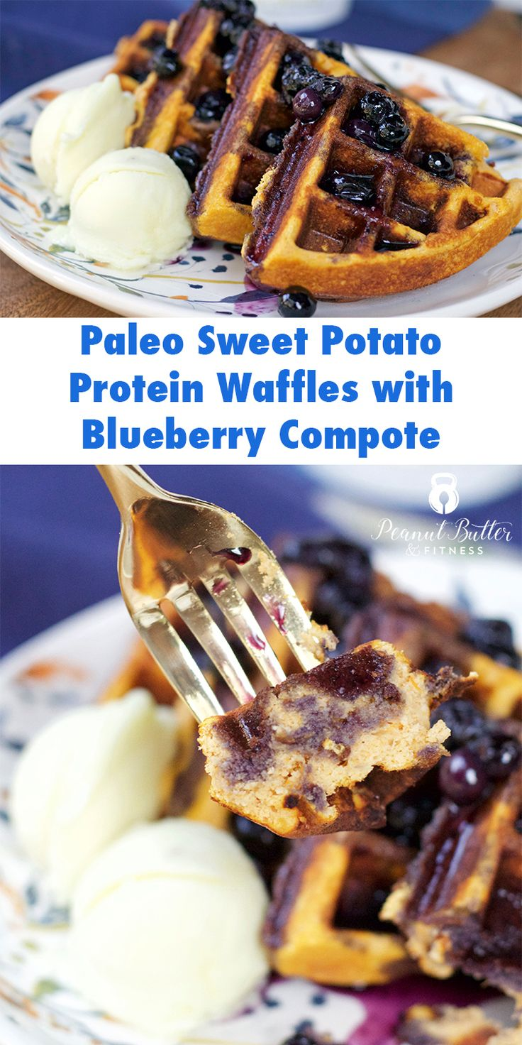 Paleo Sweet Potato Protein Waffles with Blueberry Compote - a hearty, healthy breakfast to fuel your morning.  You can even freeze the waffles as part of your meal prep and grab them when you need one!  Yield: 2 servings • Calories per serving: 388 • Fat: 12 g • Protein: 23 g • Carbs: 48 g • Fiber: 9 g • Sugar: 25 g • Sodium: 259 mg • Cholesterol: 93 mg