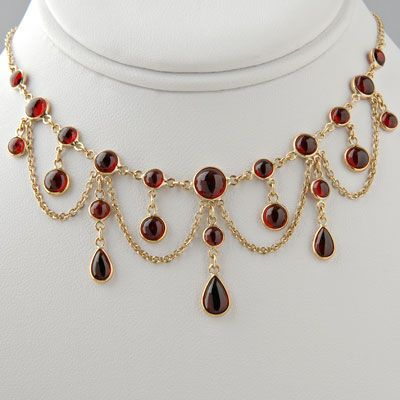 Victorian Garnet Necklace Antique Style / Special Order - ABSOLUTELY MAGNIFIQUE!!