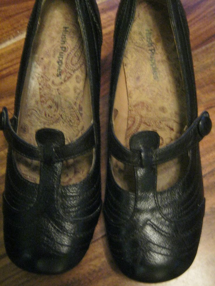 Girls/Womans Black Leather Hush Puppies Shoes Size 5 Mid/Low Heel | eBay