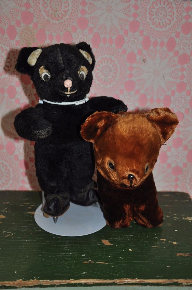 2 artsilk 1940's bears all original 1 black on oilcloth ice skates 1 brown
