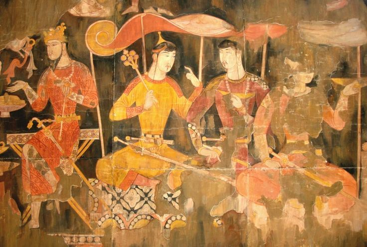 Dehkans Sitting at a Libation - Sogdian mural from Panjakent, 6th-8th Centuries, reconstruction