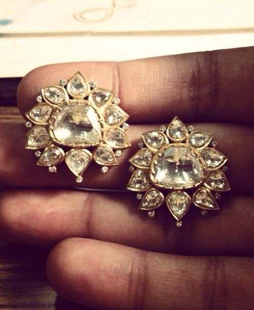 #want #musthave Polki Lotus motif earrings by Umrao Jewellers via Instagram
