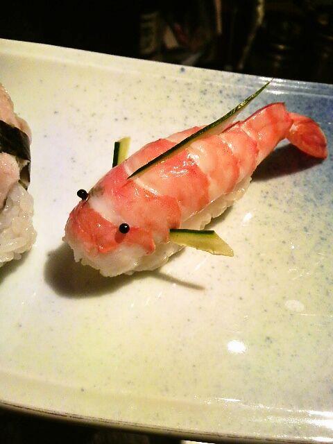 Japanese Koi Fish (Carp) Shaped Shrimp Sushi. @Fritillaria - I don't enjoy the shrimp that much but I would enjoy eating this one's little face!