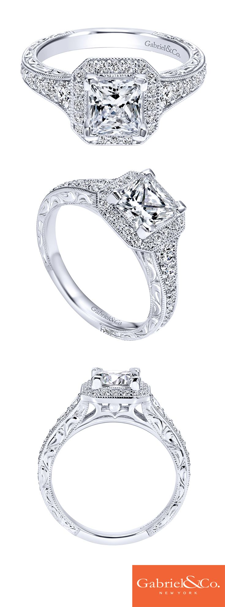Estelle Platinum Princess Cut Halo Engagement Ring  Er11793s4pt4jj