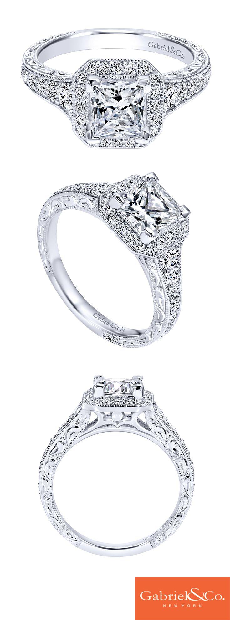 Vintage 14k White Gold Princess Cut Halo  Er11793s4w44jj Intricate  Engagement Ringdream