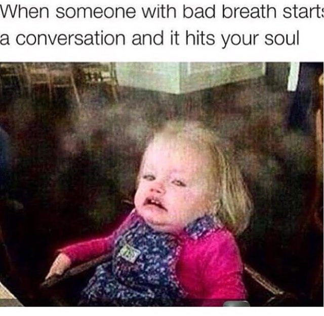 When someone with bad breath starts a conversation and it hits your soul (Funny People Pictures) - #bad breath #breath #conversation #soul