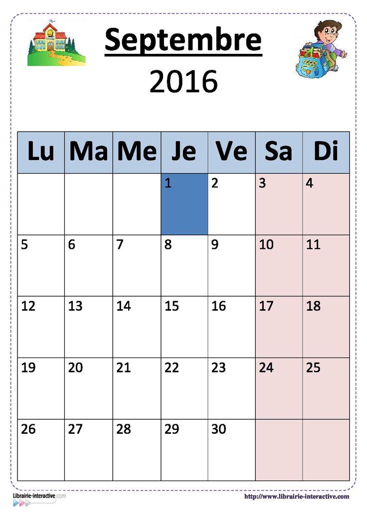 Plusieurs versions illustrées du calendrier scolaire 2016-2017 pour un affichage en classe.