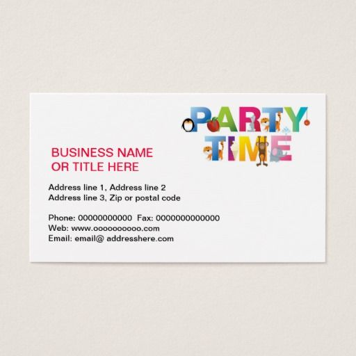 party time for kids business card