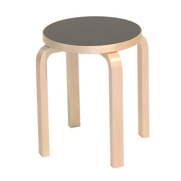 Aalto E60 stool, black linoleum