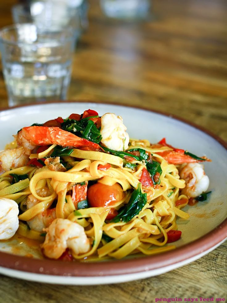 Handmade saffron linguine with heirloom cherry tomatoes, Queensland prawns and chilli from The Grounds of Alexandria