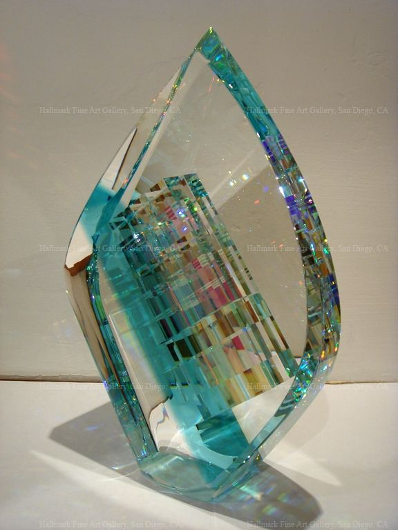 "Dichroic Glass Sculpture by Jack Storms - Blue Tier Drop / Contemporary, Cold-Cut Glass Sculpture Medium: Dichroic Glass & Crystal Dimensions: 8"" x 12"" x 3.5"""