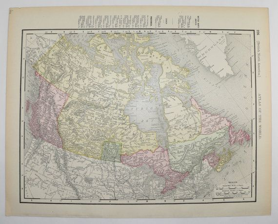 1898 Antique Map of Canada British North America Map, Canadian Art Gift, Historical Map, Canada Wall Map, Man Cave Decor, Gift for Him available from OldMapsandPrints on Etsy