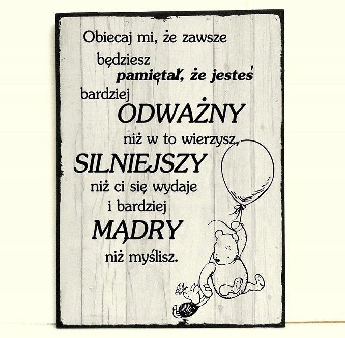 Plakat Kubus Puchatek Odwaga Sila Madrosc Cytat 9477488070 Oficjalne Archiwum Allegro Novelty Sign