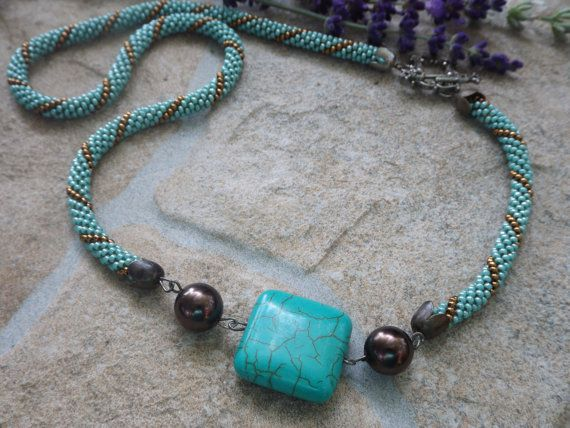 Crochet necklace with turquoise mineral beads