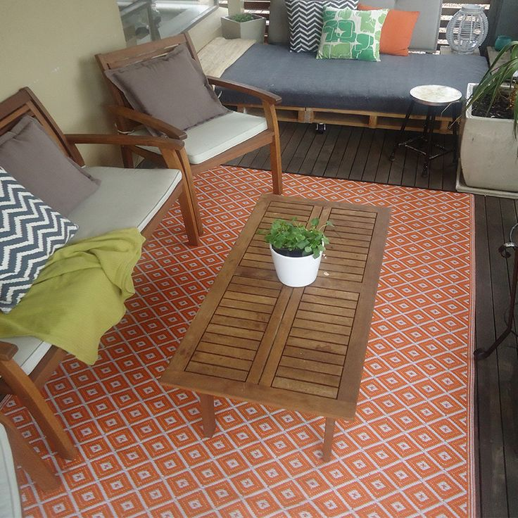 Orange & White Outdoor Rug, Style My Home Australia - by stylemyhome.com.au $49 !!!!