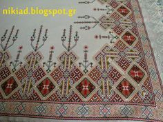 Χειροτεχνήματα: Παραδοσιακό τραπεζομάντηλο σταυροβελονιά /Traditional cross stitch tablecloth