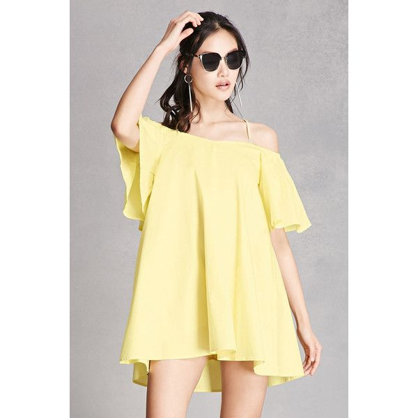 Forever21 Open-Shoulder Swing Dress ($48) ❤ liked on Polyvore featuring dresses, yellow, yellow dress, beige cami, v-neck dresses, v neck short dress and short sleeve dress