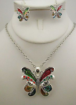 Joan Rivers Butterfly Pendant Necklace and Earring Set (w/box, pouch, card)